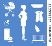 pregnant woman and goods for... | Shutterstock .eps vector #1135832735