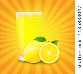 juice and slices of orange and... | Shutterstock .eps vector #1135833047