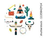 native american indian set....   Shutterstock .eps vector #1135842914