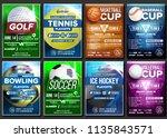 sport poster set. basketball ... | Shutterstock . vector #1135843571