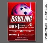 bowling poster. bowling ball.... | Shutterstock . vector #1135843607