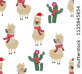 cute alpaca wear christmas... | Shutterstock .eps vector #1135845854