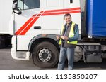 semi truck caucasian man driver ... | Shutterstock . vector #1135850207