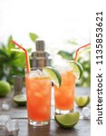 zombie cocktail with rum ... | Shutterstock . vector #1135853621