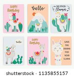 set of cute llama in the wild.... | Shutterstock .eps vector #1135855157