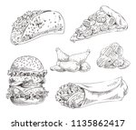 fast food set hand drawn vector ... | Shutterstock .eps vector #1135862417