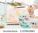 watercolor class.closeup woman... | Shutterstock . vector #1135863881