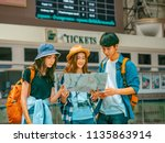 travel concept.group of... | Shutterstock . vector #1135863914