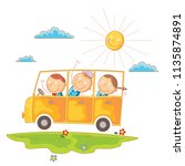 children go to school by bus | Shutterstock .eps vector #1135874891