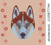 husky dog   in ethnic style. a...   Shutterstock .eps vector #1135877744