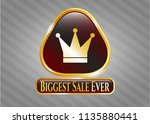 golden emblem with crown icon... | Shutterstock .eps vector #1135880441