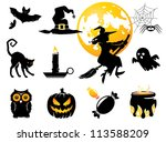 halloween set  black  orange... | Shutterstock .eps vector #113588209