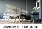 modern interior design in dark...   Shutterstock . vector #1135883681