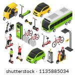 eco transport isometric set | Shutterstock .eps vector #1135885034