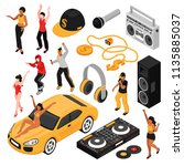 rap music isometric set  | Shutterstock .eps vector #1135885037
