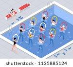 water aerobics class women... | Shutterstock .eps vector #1135885124