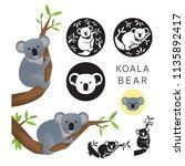 koala bear vector set  on the... | Shutterstock .eps vector #1135892417