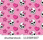 Seamless With Hearts And Skull...