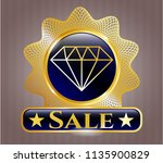 gold emblem with diamond icon... | Shutterstock .eps vector #1135900829
