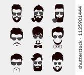 set of mustache  beards  hair... | Shutterstock . vector #1135901444