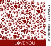 i love paw print icons | Shutterstock .eps vector #113590621