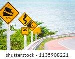 steep hill descent use low gear ...   Shutterstock . vector #1135908221
