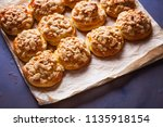 homemade pastry with a topping... | Shutterstock . vector #1135918154