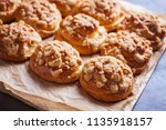 homemade pastry with a topping... | Shutterstock . vector #1135918157