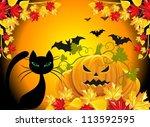 orange background with pumpkins | Shutterstock .eps vector #113592595