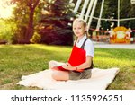 portrait of schoolgirl teenager ... | Shutterstock . vector #1135926251