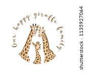 background with giraffe family. ...   Shutterstock .eps vector #1135927064