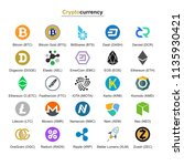 cryptocurrency badges. set on a ... | Shutterstock .eps vector #1135930421