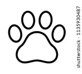 dog paw vector footprint icon... | Shutterstock .eps vector #1135930487