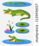 Set Of Cartoon Crocodile And...
