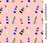 colorful lighthouses seamless... | Shutterstock .eps vector #1135934447