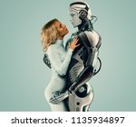 human and robot relationship... | Shutterstock . vector #1135934897