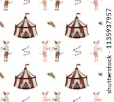 vintage circus pattern... | Shutterstock . vector #1135937957