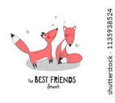 two funny foxes and hearts and... | Shutterstock .eps vector #1135938524