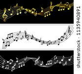 music notes flow. doodle music... | Shutterstock .eps vector #1135940891
