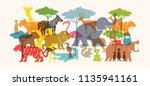 group of wild animals  zoo ... | Shutterstock .eps vector #1135941161