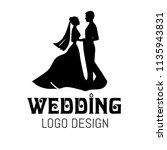 wedding couple silhouette logo   Shutterstock .eps vector #1135943831