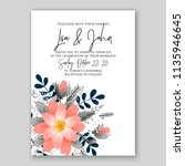 floral wedding invitation or... | Shutterstock .eps vector #1135946645
