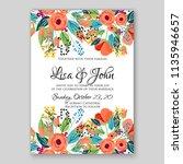 floral wedding invitation or... | Shutterstock .eps vector #1135946657