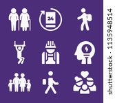 set of 9 people filled icons... | Shutterstock . vector #1135948514
