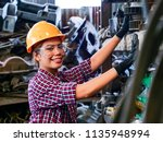 young asian engineer woman ... | Shutterstock . vector #1135948994