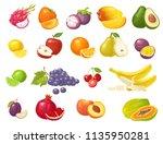 set fruits. mango  lime  banana ... | Shutterstock .eps vector #1135950281