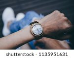 soft focus women in jean white... | Shutterstock . vector #1135951631