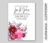 wedding invitation floral...   Shutterstock .eps vector #1135953089