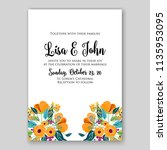wedding invitation floral...   Shutterstock .eps vector #1135953095