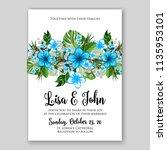 wedding invitation floral...   Shutterstock .eps vector #1135953101